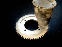 高圧水洗浄にて石膏を除去